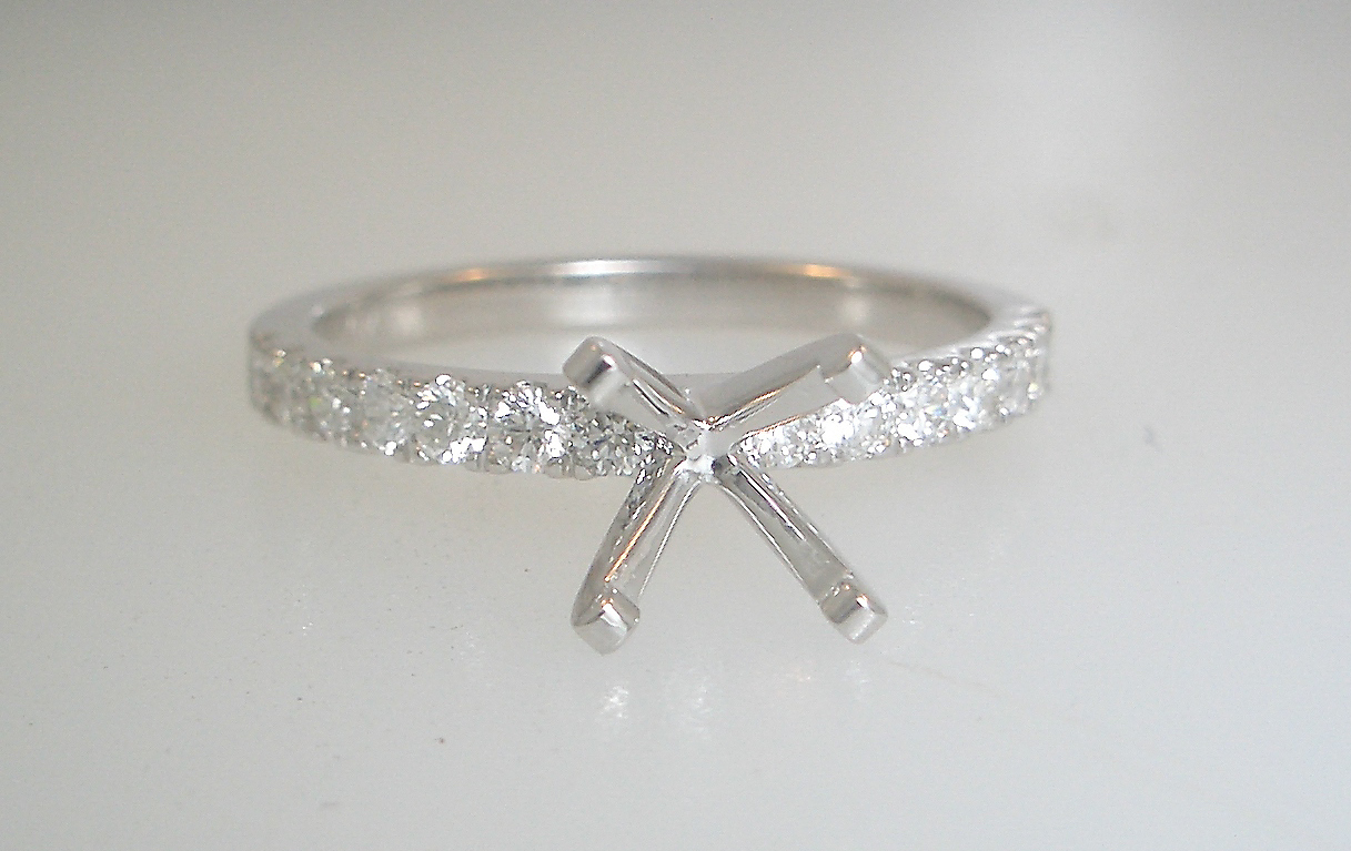 14k White Gold Diamond Accented Engagement Ring