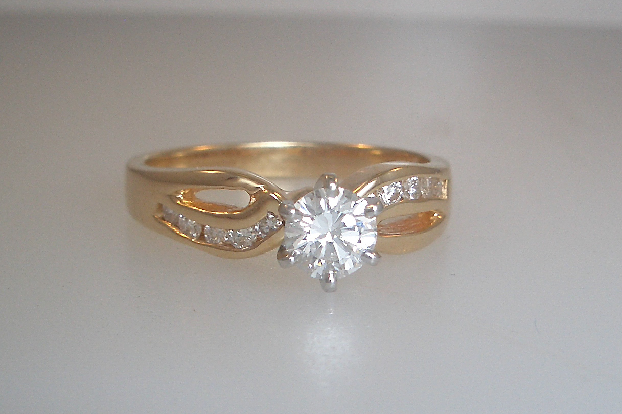 14k Yellow Gold Diamond Design Engagement Ring