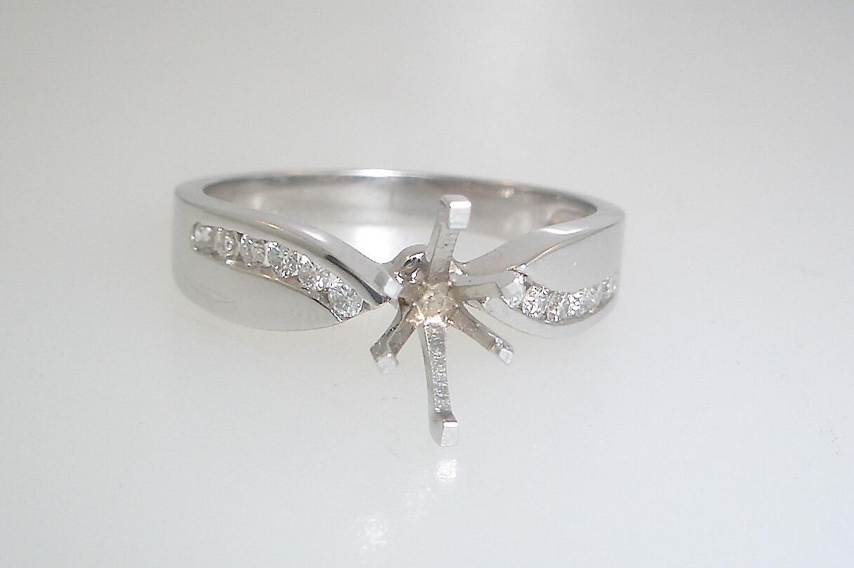14k White Gold Diamond Design Mounting
