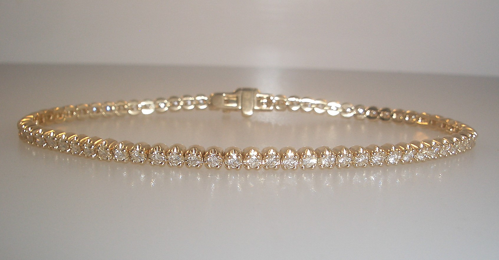 14k Yellow Gold and Diamond Tennis Bracelet