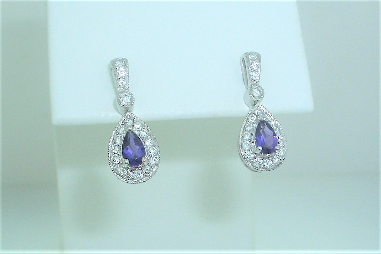 Pear Amethyst Dangles