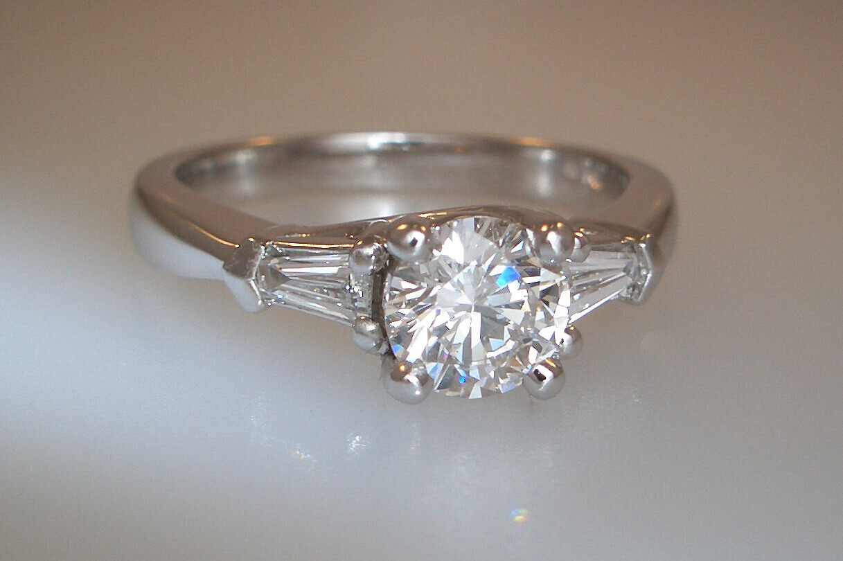 14k White Gold Three-Stone Style Engagement Ring
