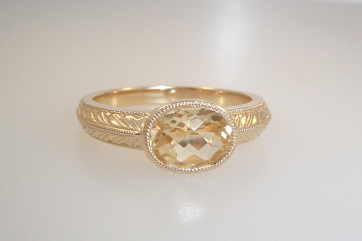 Engraved Light Citrine Ring