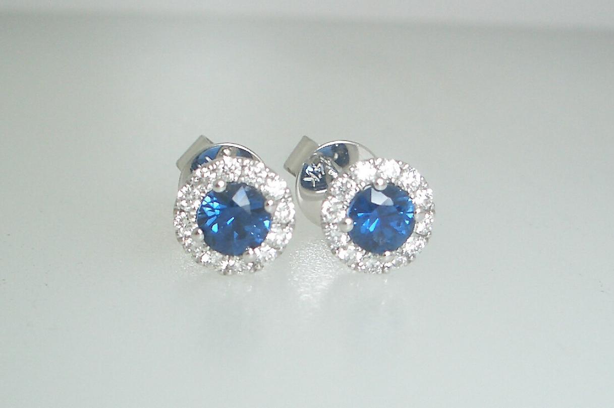 Sapphire Diamond Halo Studs