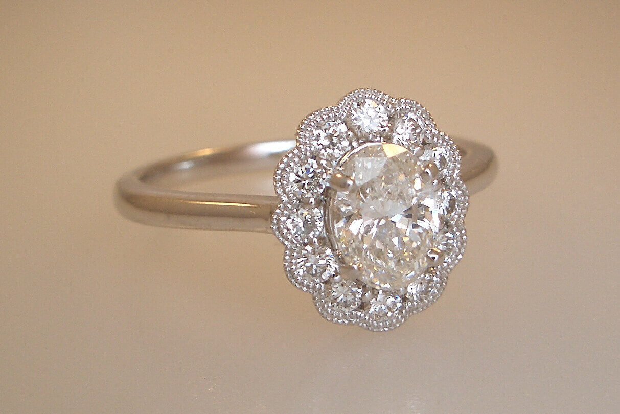 14k White Gold Halo Style Engagement Ring