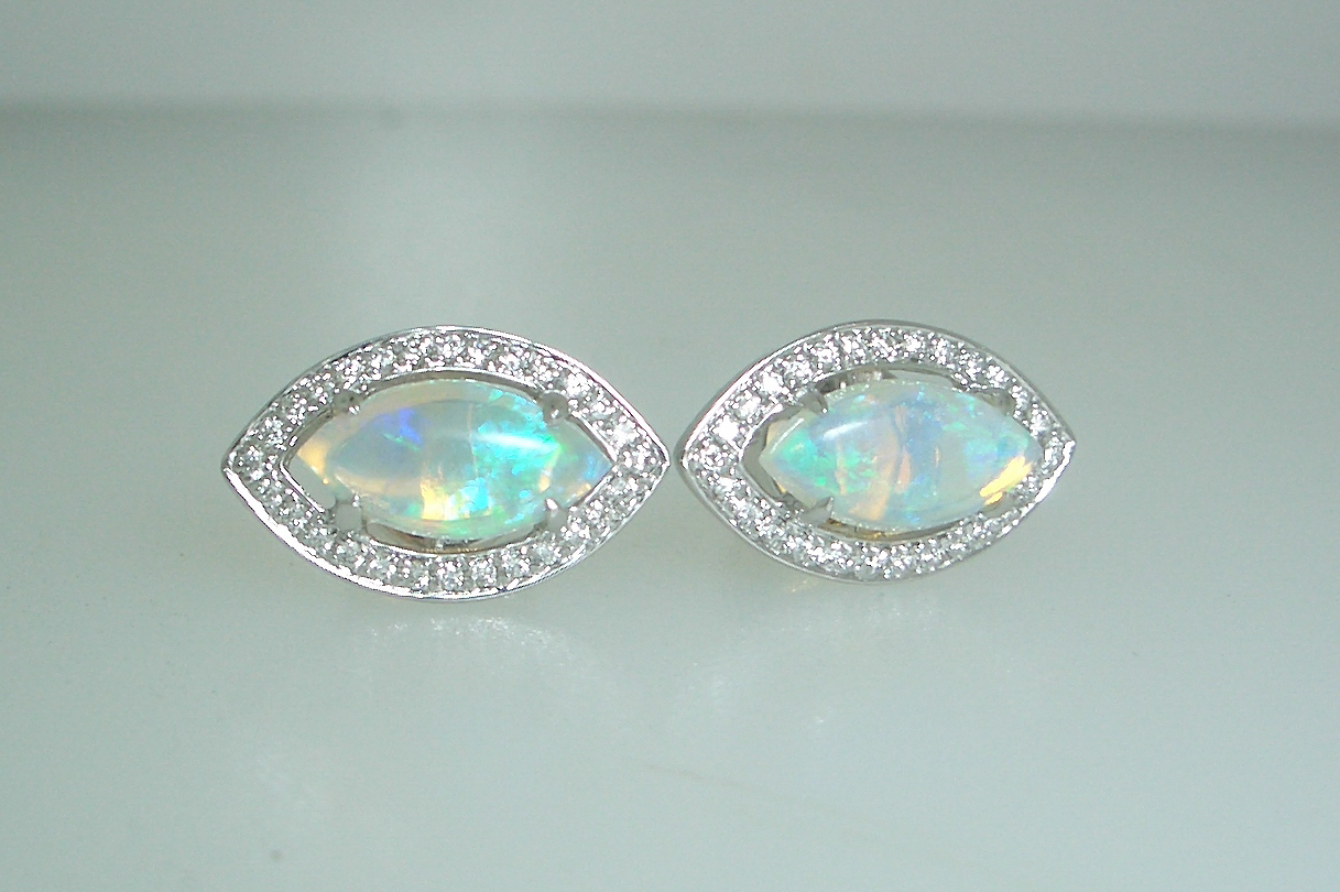 Marquise Opal Studs