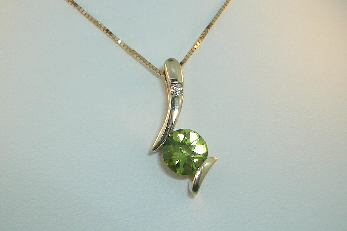 Peridot Diamond Pendant